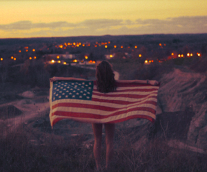 girl, usa, and flag image