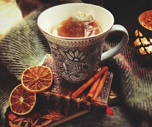 tea, Cinnamon, and book image