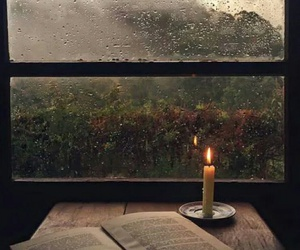 book, rain, and autumn image