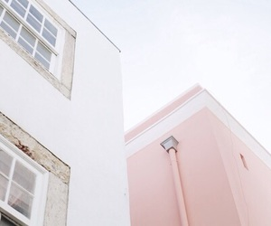 pastel, pink, and building image