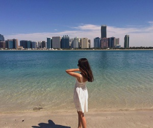abu dhabi, beach, and skyscrapers image
