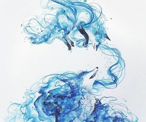 fox, art, and blue image