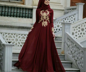 hijab, dress, and muslim image