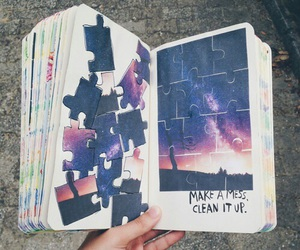 art, wreck this journal, and galaxy image