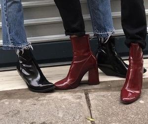 red, black, and boots image