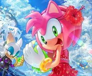 rouge, amy rose, and sonic girls image