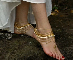 barefoot, jewelry, and sandals image