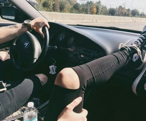 car, converse, and couple image