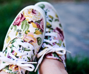 shoes, vans, and floral image