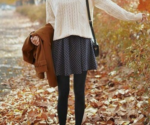 autumn, leaves, and outfit image
