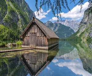 landscape, mountains, and cabin image