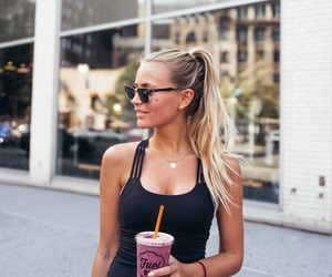 blonde, food, and fashion image