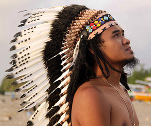 bohemian, feather headdress, and indian headdress image
