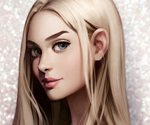 adorable, blond hair, and digital art image