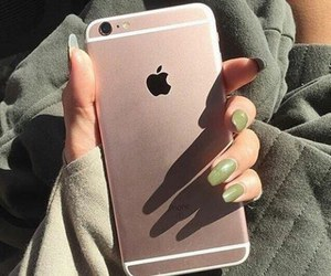 iphone, nails, and green image