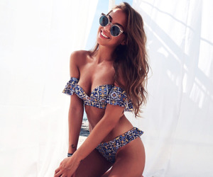 beach, bikini, and long hair image