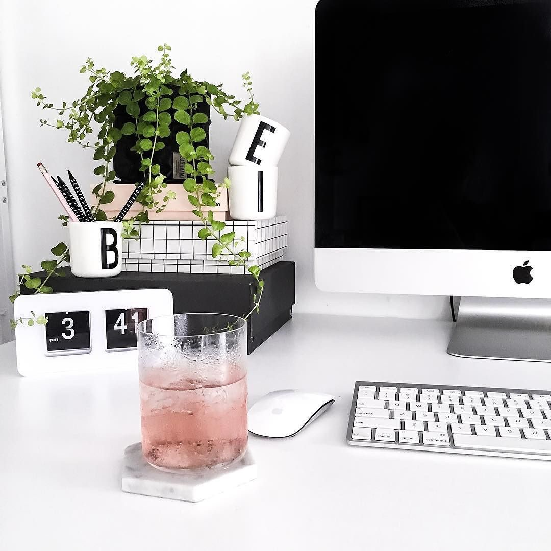 computer, plants, and drink image