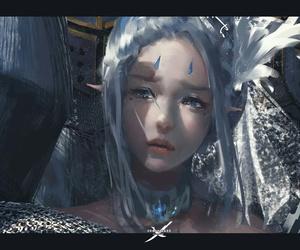 art, girl, and elf image