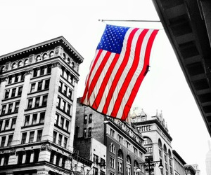 america, american flag, and buildings image
