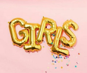 girl, pink, and gold image