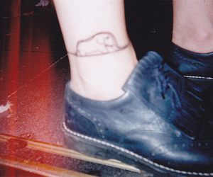 shoes, tattoo, and elephant image