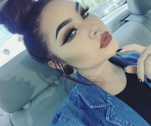 beauty, black hair, and denim jacket image
