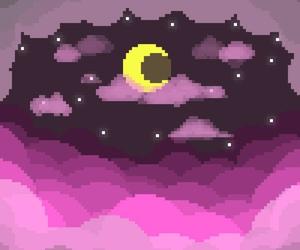 night, pixel art, and tumblr image