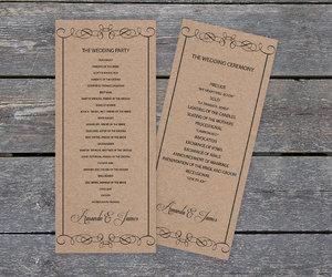 etsy, diy wedding program, and rustic invitation image