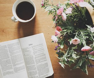 flowers, coffee, and bible image