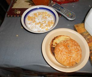 bread, burger, and cereal image