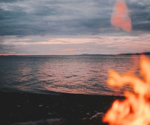 beach, bonfire, and ocean image