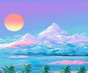 background, vaporwave, and mountains image