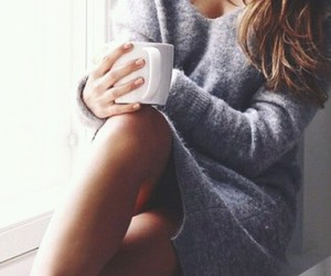 coffee, sweater, and fall image