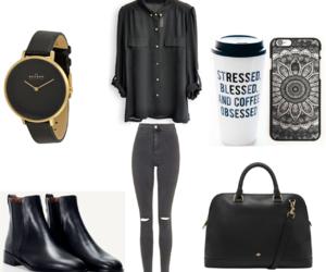 Adult, bag, and black image