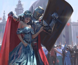 art, princess, and knight image