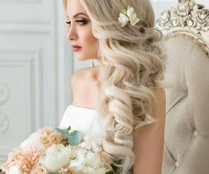 bride, flowers, and hair image