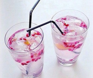 drink, water, and pink image