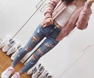 jeans, adidas, and outfit image