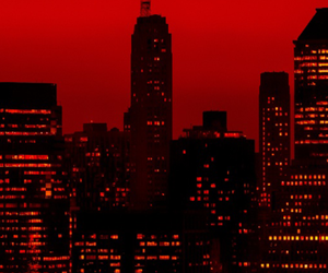 city, grunge, and red image