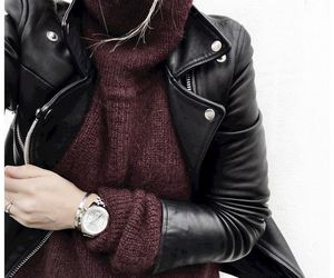 clothes, fashion, and leather jacket image