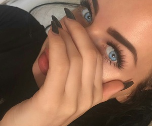 blue eyes, makeup, and nails image