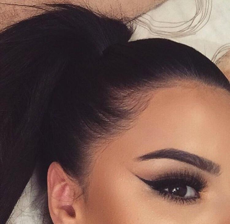 black hair, makeup, and brows image