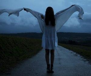 girl, dark, and blue image