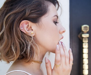 earrings, fashion, and hair image