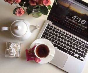 afternoon, flowers, and tea image