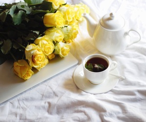 flowers, tea, and yellow image