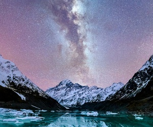 cloud, mountain, and lake image