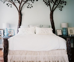 bed, tree, and bedroom image