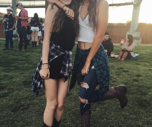 best friends, brunettes, and concert image