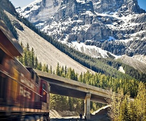 mountains, train, and travel image